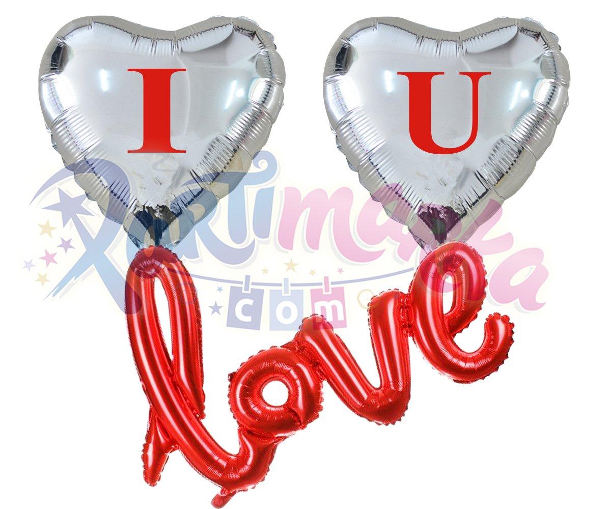Ucan Kalp Balon Seti Folyo Balonlar Partimarka I Love You Yazili