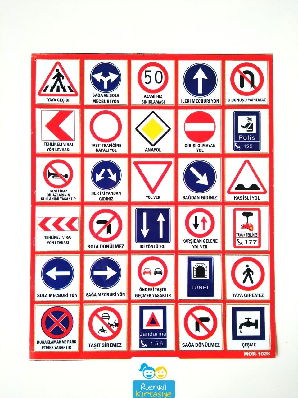 Trafik Işaretleri Etiket 30 Adet