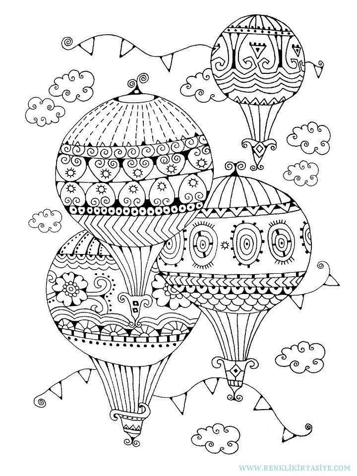 Mangala Resim Boyama Yetiskinler Icin Boyama A4 Balon Model