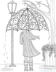 Mangala Resim Boyama Yetişkinler Için Boyama A4 şemsiyeli Kız Model