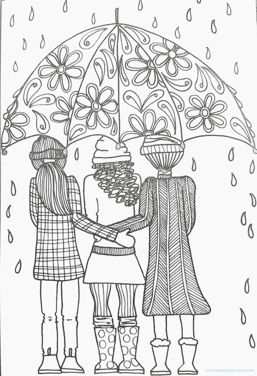 Mangala Resim Boyama Yetişkinler Için Boyama A4 şemsiyeli Kızlar