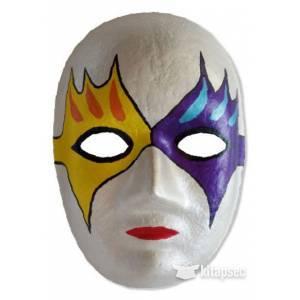 Yuz Sekilli Lastikli Karton Maske 24 Cm Boyanabilir