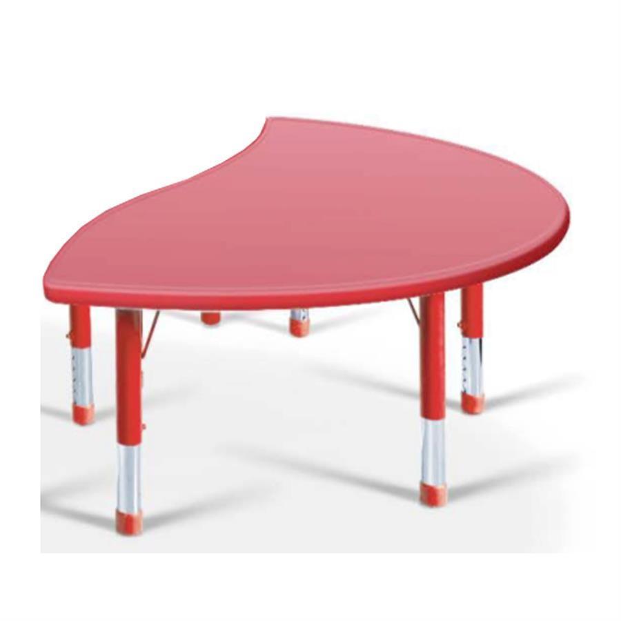 Yucaı Dalgalı D Masa Kırmızı - 160x85x40-60cm