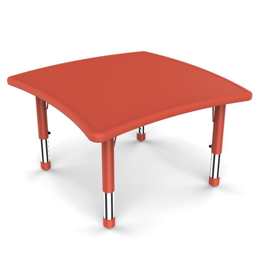 Yucaı Dalgalı Kare Masa Kırmızı - 86x85,5x40-60cm