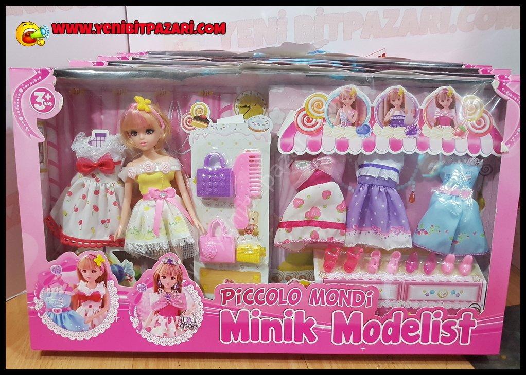 14 parca elastik manken oyuncak bebek seti elbise ve ayakkabi cesitleri ile birlikte