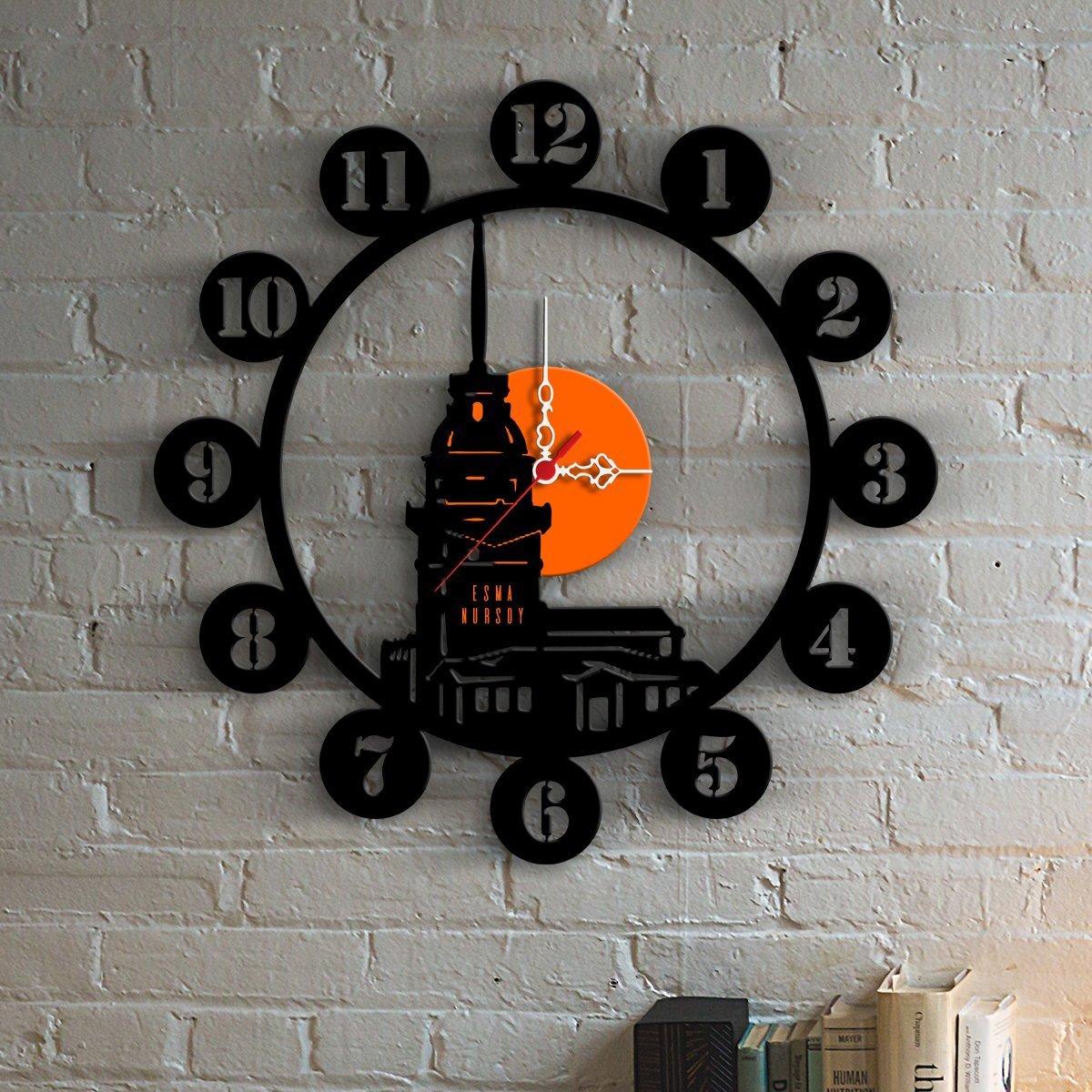 e6c70b2193c88 Bitmeyen.com Kişiye Özel Kız Kulesi Tasarımlı Ahşap Duvar Saati - 1