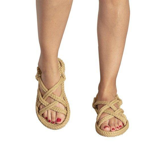 Bodrum Kadin Halat Ip Sandalet Bej