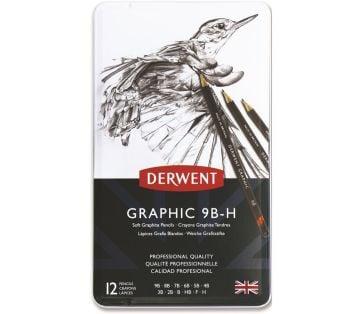 Derwent Graphic Dereceli Kalem Seti (Sketching) 12'li Teneke Kutu Soft (Yumuşak)