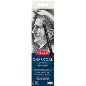 Derwent Charcoal Pencils Kömür Füzen Kalem Seti 6'lı Teneke Kutu