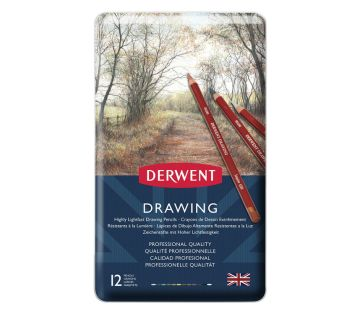 Derwent Drawing Pencils Renkli Çizim Kalemi Seti 12'li Teneke Kutu
