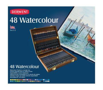 Derwent Watercolour Pencil Suluboya Kalem Seti 48'li Ahşap Kutu