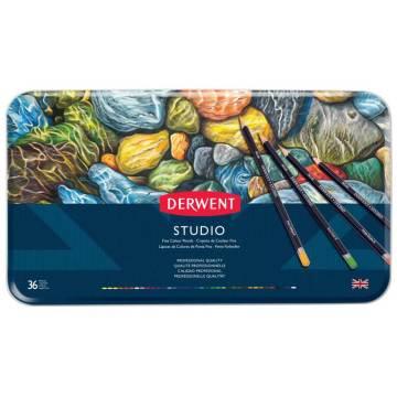Derwent Studio Pencils Kuruboya Kalemi Metal Kutu 36'lı