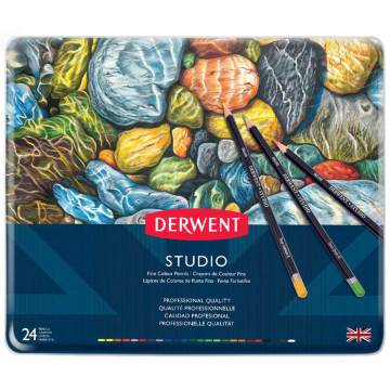 Derwent Studio Pencils Kuruboya Kalemi Metal Kutu 24'lü