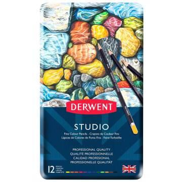 Derwent Studio Pencils Kuruboya Kalemi Metal Kutu 12'li