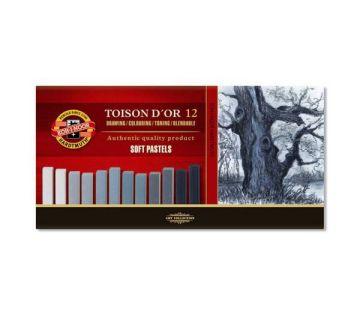 Koh-i Noor Toison D'or Soft Kare Pastel Boya GRİ TONLAR 12 Renk