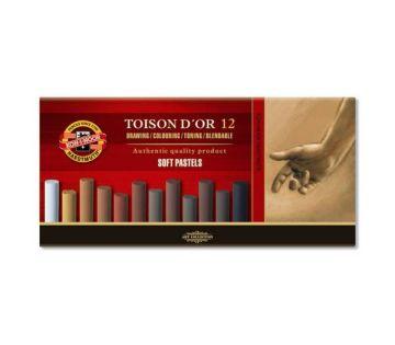 Koh-i Noor Toison D'or Soft Yuvarlak Pastel Boya KAHVERENGİ TONLAR 12 Renk