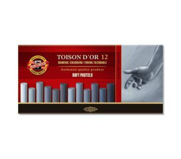 Koh-i Noor Toison D'or Soft Yuvarlak Pastel Boya GRİ TONLAR 12 Renk