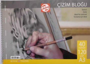Talens Spiralli Çizim Bloğu Eskiz Çizim Defteri A3 120 gr 40 Sayfa