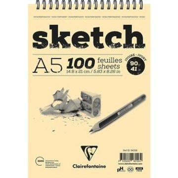 Clairefontaine Ivory Sketch Eskiz Defteri A5 Üstten Spiralli 90 gr. 100 Yaprak
