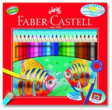 Faber Castell Aquarel Kuru-Sulu Boya Kalemi 24 Renk Karton Kutu