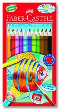 Faber Castell Aquarel Kuru-Sulu Boya Kalemi 12 Renk Karton Kutu