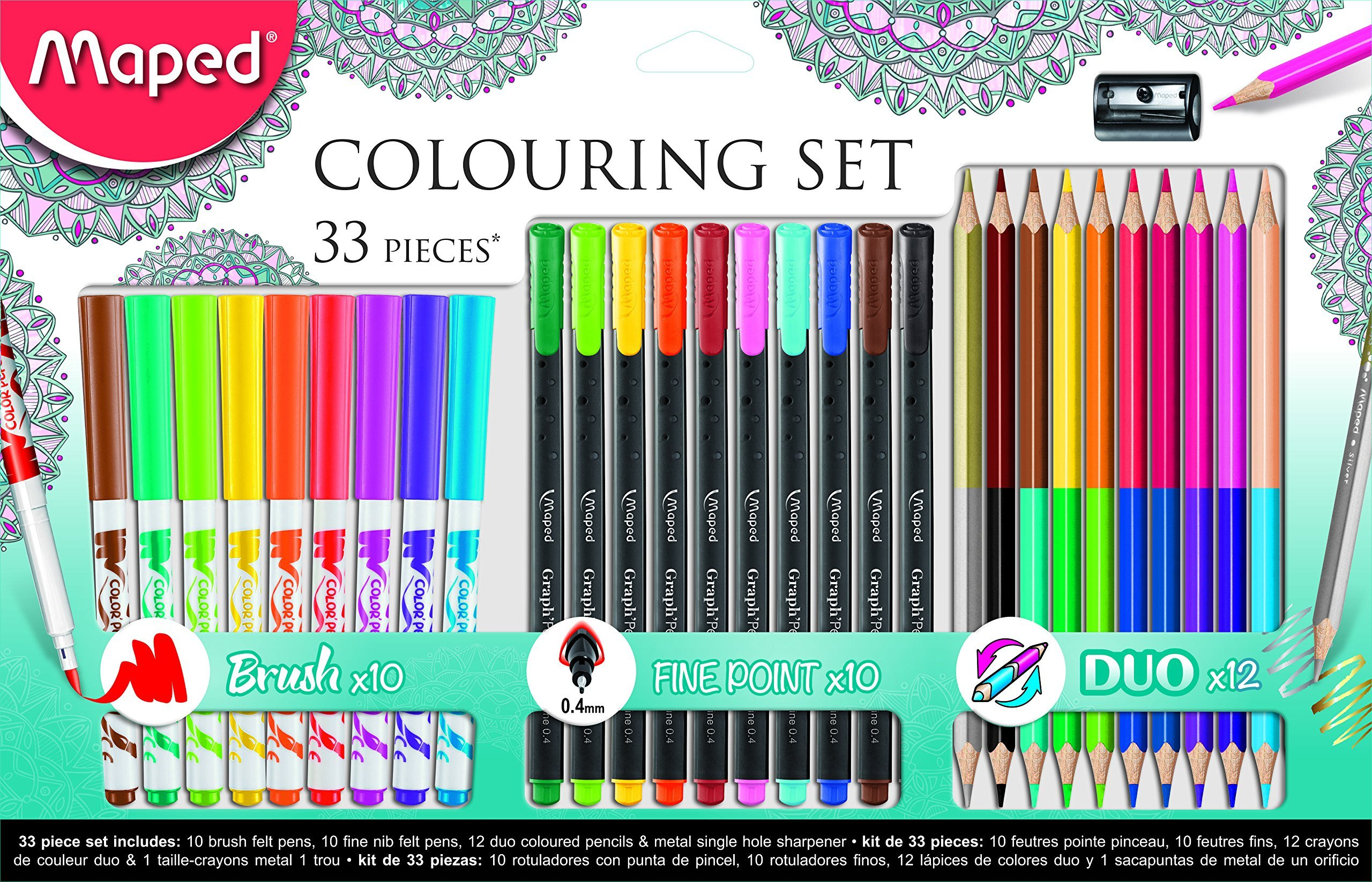 Maped Okul Seti 33 Lu 10 Le Brush Fineliner 12 Renk Set Duo Boya