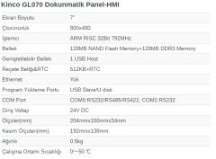 7 inç GL070 Dokunmatik Panel-HMI KİNCO