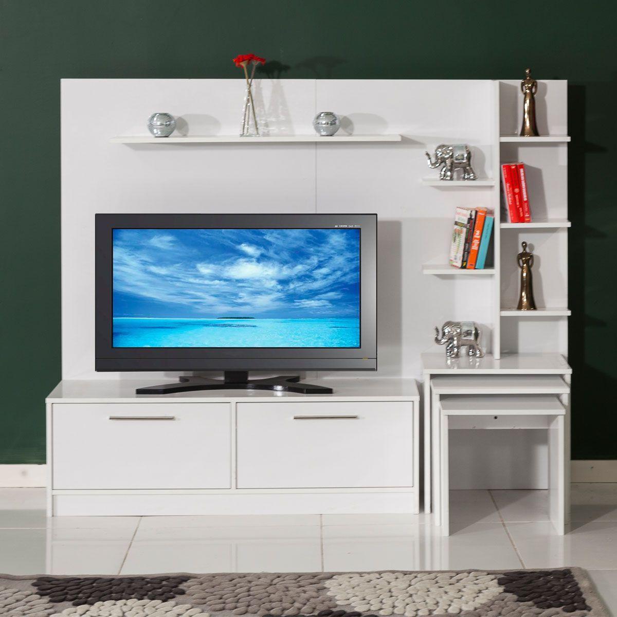 New York Tv Ünitesi - Beyaz Zigon Sehpalı - Modalife Mobilya - Tamamlayıcı  Pratik Mobilyalar