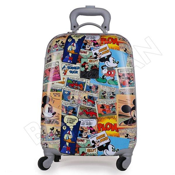 cec1fd7ac90c7 Tekerlekli Çekçekli Sert ABS Seyahat Çantası Mickey Mouse Desenli