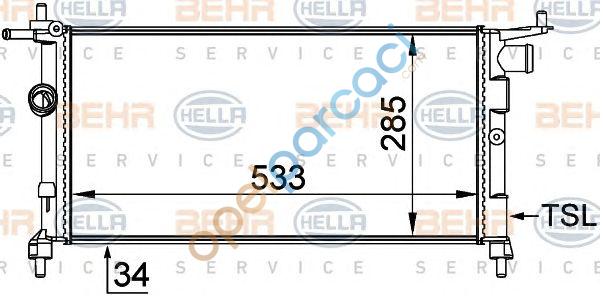 Opel Corsa B Su Radyatörü Klima hariç Manuel Şanzuman 1.2- 1.4 - 1.6 Motorlar BEHR