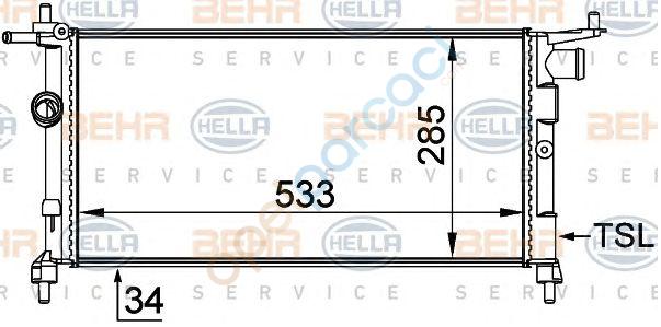 Opel Combo B Su Radyatörü Klima hariç Manuel Şanzuman 1.2- 1.4 - 1.6 Motorlar BEHR