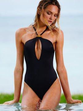 2064bca7d9606 High Neck Keyhole One Piece Strappy Swimsuit - Mayo, Siyah - Plaj ...