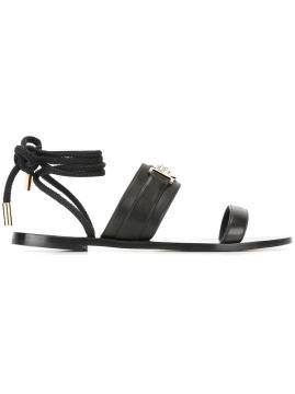 Medusa lace fastening sandals - Sandalet, Siyah. Versace
