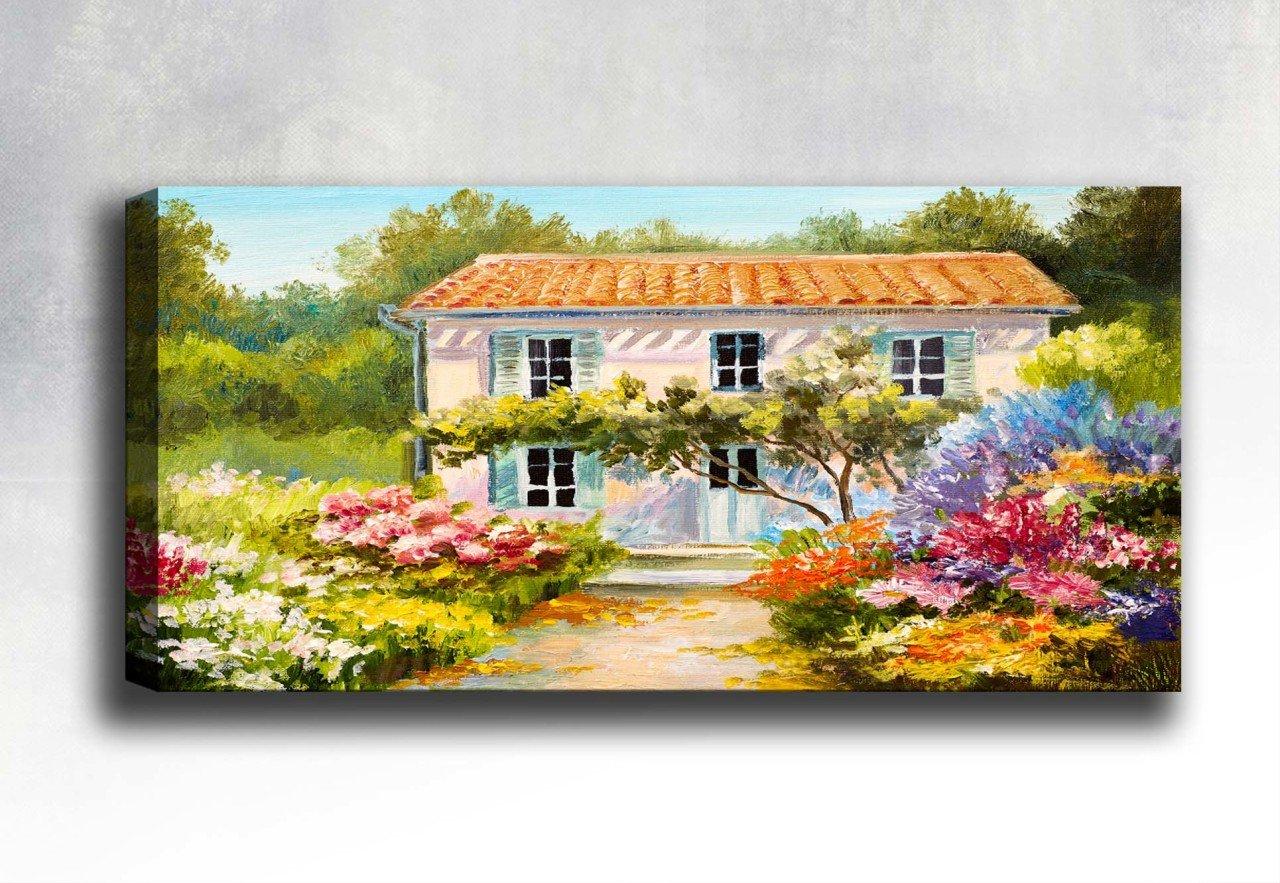 çiçek Bahçeli Ev Yatay Kanvas Tablo Dikey Ve Yatay Kanvas Tablolar
