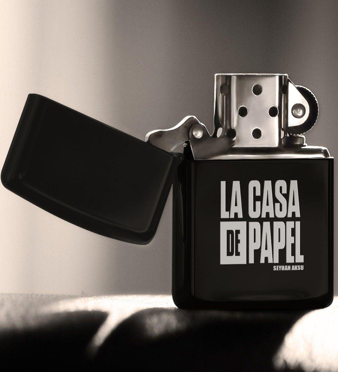 Kişiye Özel La Casa De Papel Benzinli Siyah Metal Çakmak - 1