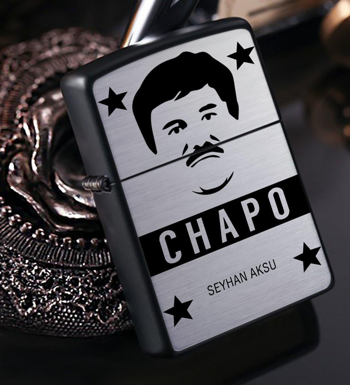 Kişiye Özel EL Chapo Benzinli Siyah Metal Çakmak - 1