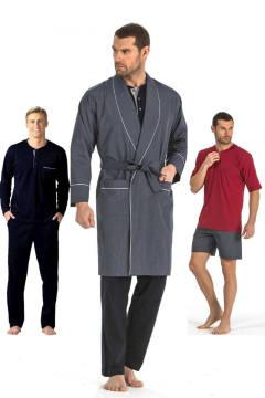 Pierre Cardin 5li Penye Robdöşambr Damat Pijama Set 5560 Bordo - S